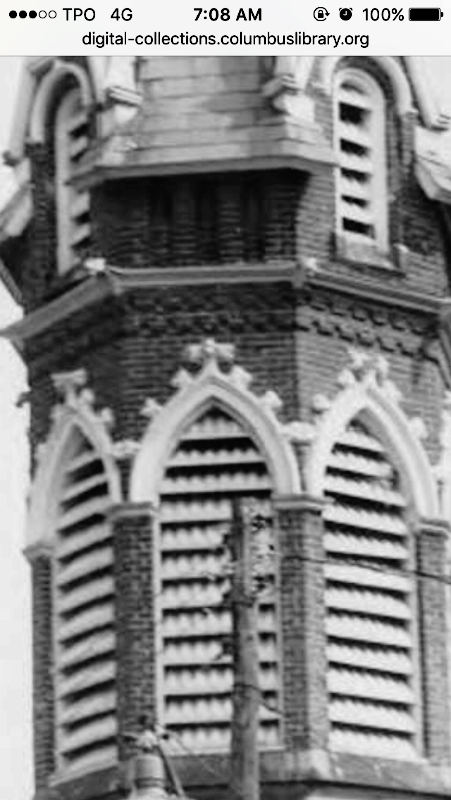 Archival picture of the 1895 bell tower with louvered arches.